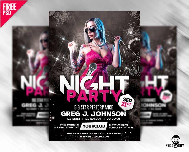 Free Club Flyer Templates Fresh Night Party Flyer Design Free Psd – Psddaddy