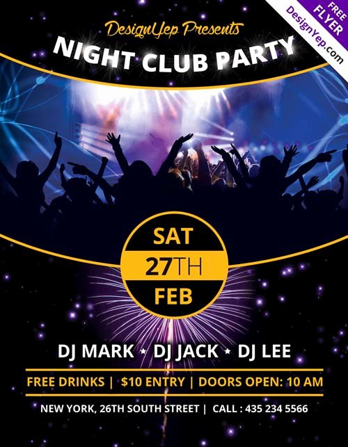 Free Club Flyer Templates Lovely Download Nightclub Party Free Psd Flyer Template