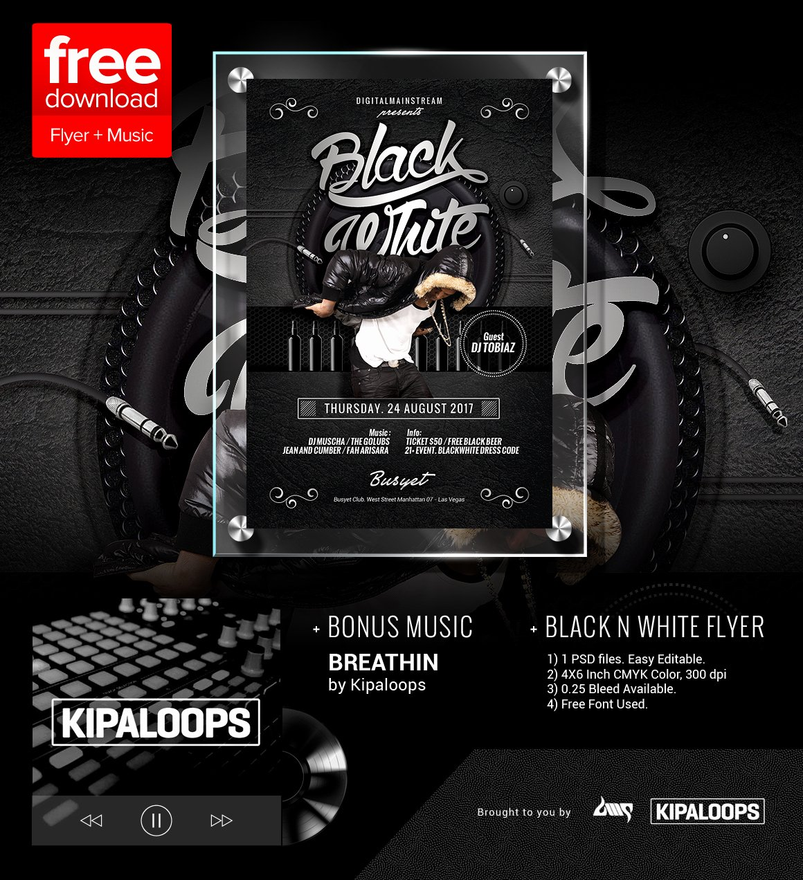 Free Club Flyer Templates Lovely Free Black and White Club Flyer Template Music by