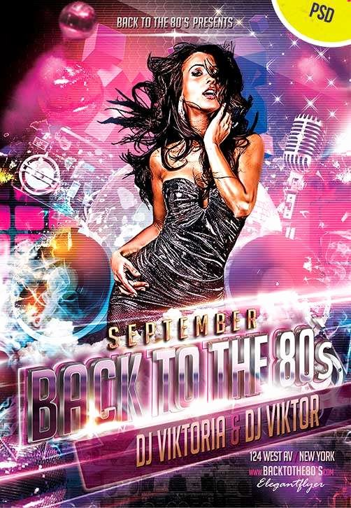 Free Club Flyer Templates Luxury Back to the 80s Club Party Free Flyer Psd Template for