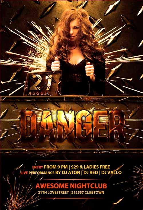 Free Club Flyer Templates New Danger Club Free Psd Flyer Template Freepsdflyer