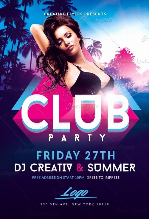 Free Club Flyer Templates Unique Summer Club Party Flyer Template Creative Flyers
