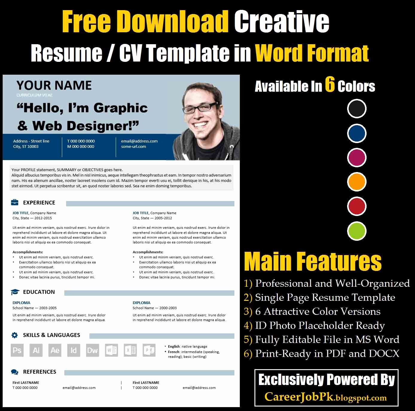 Free Creative Resume Templates Word Lovely Free Download Editable Resume Cv Template In Ms Word format