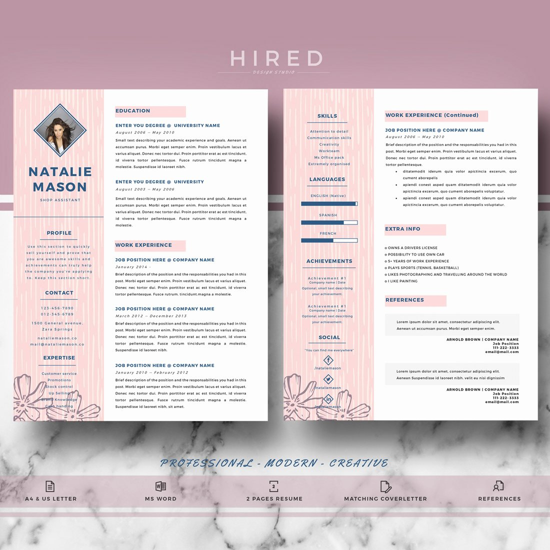"Free Creative Resume Templates Word Luxury Creative Resume Template for Ms Word ""natalie"" Hired"