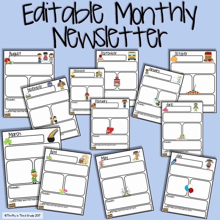 Free Editable Newsletter Templates Elegant Monthly Newsletter Editable Preschool