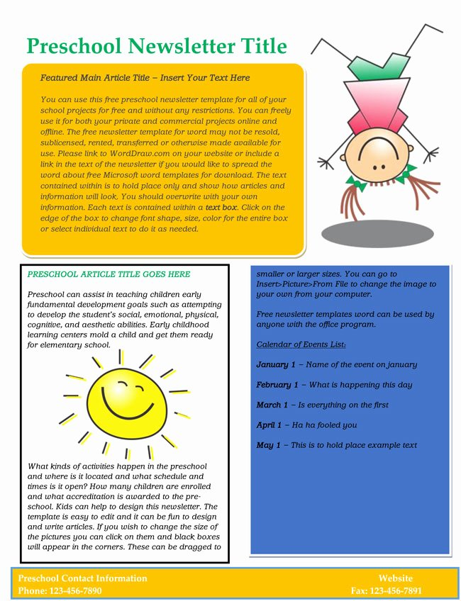 Free Editable Newsletter Templates Lovely 16 Preschool Newsletter Templates Easily Editable and