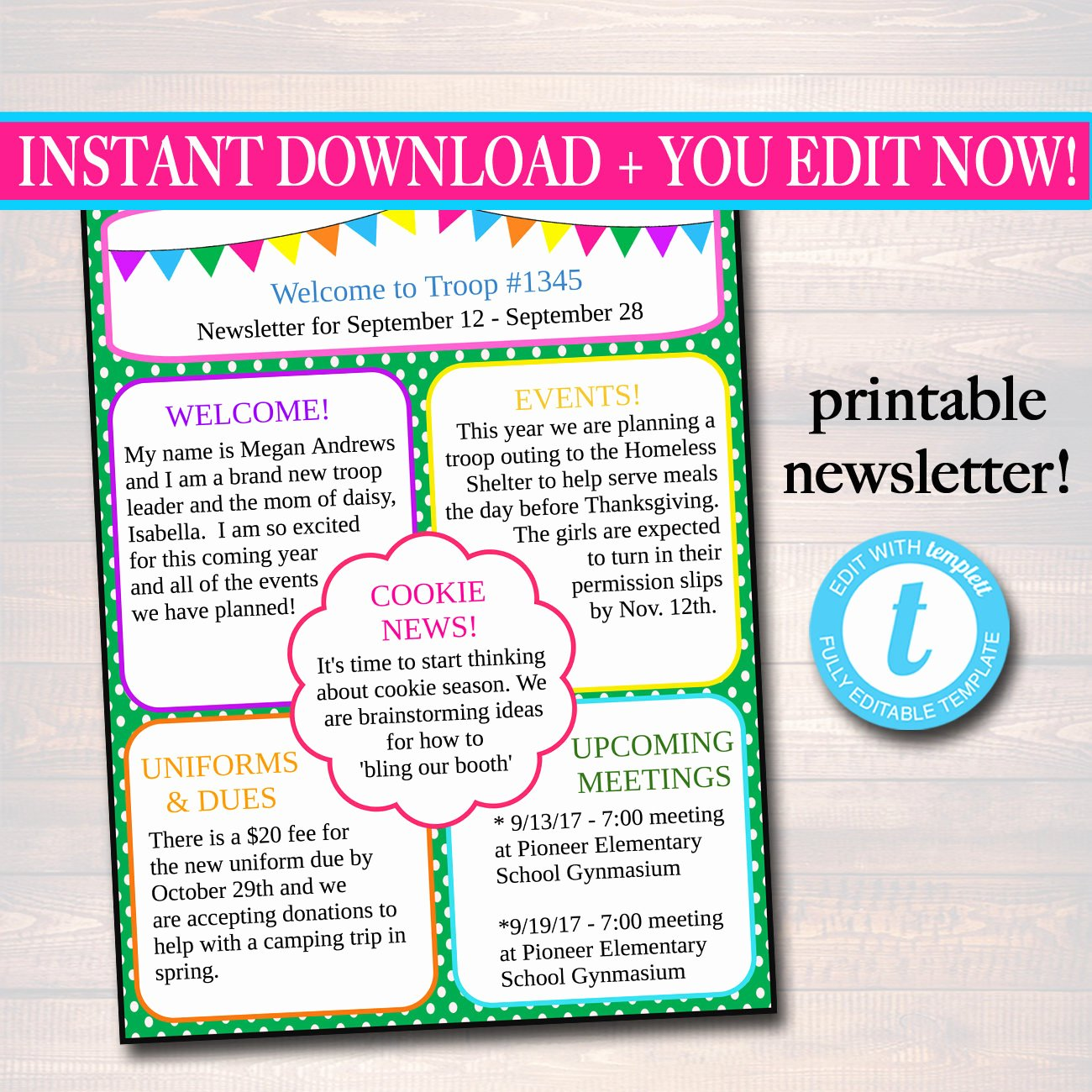 Free Editable Newsletter Templates Lovely Editable Newsletter Template Instant Download Teacher