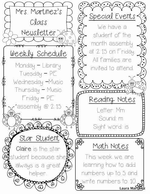 Free Editable Newsletter Templates Lovely Teacher Laura Editable Class Newsletter Template