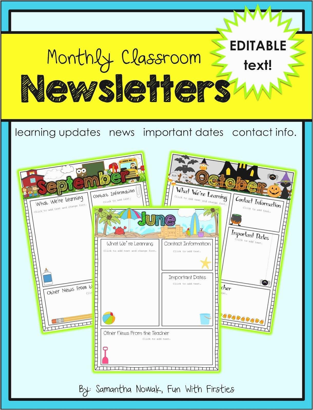 Free Editable Newsletter Templates Luxury Free Editable Newsletter Templates for Te Unique Free