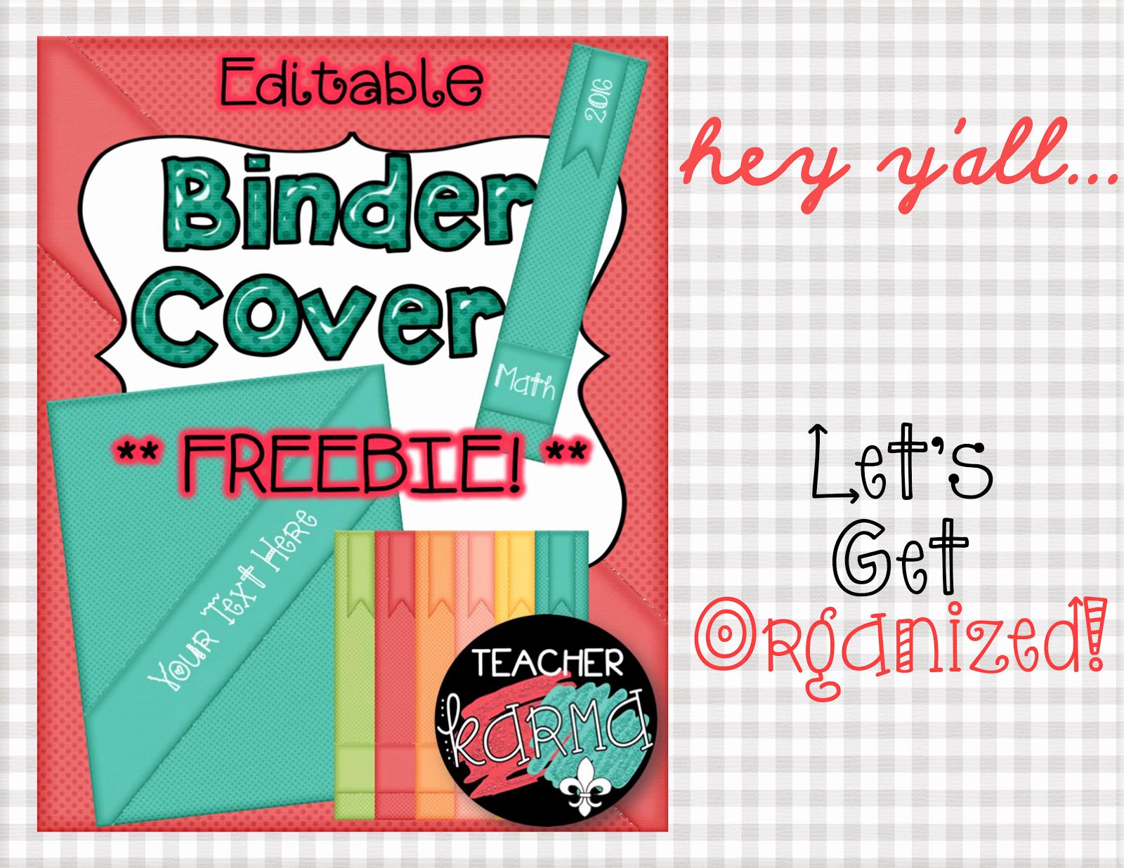 Free Editable Printable Binder Covers Awesome Binder Cover Freebie Teacher Karma
