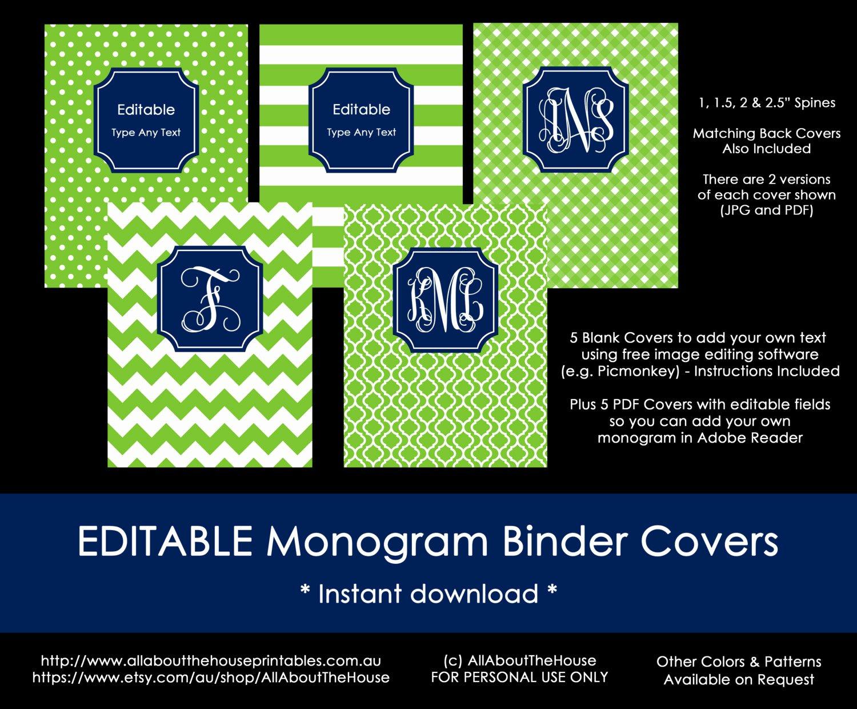 Free Editable Printable Binder Covers Awesome Editable Printable Monogram Binder Cover and Spine Chevron