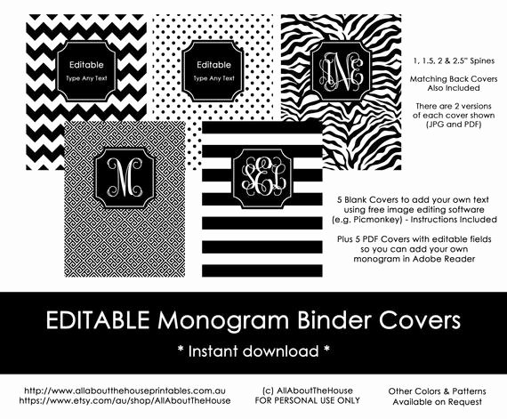 Free Editable Printable Binder Covers Fresh Editable Printable Monogram Binder Cover and Spine Chevron