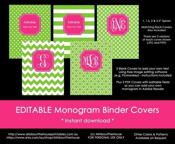 Free Editable Printable Binder Covers Fresh Editable Printable Monogram Binder Cover and Spine Chevron