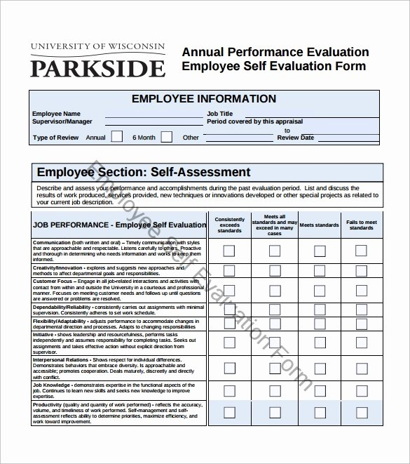 Free Employee Evaluation forms Printable Best Of Free 14 Sample Employee Self Evaluation form In Pdf