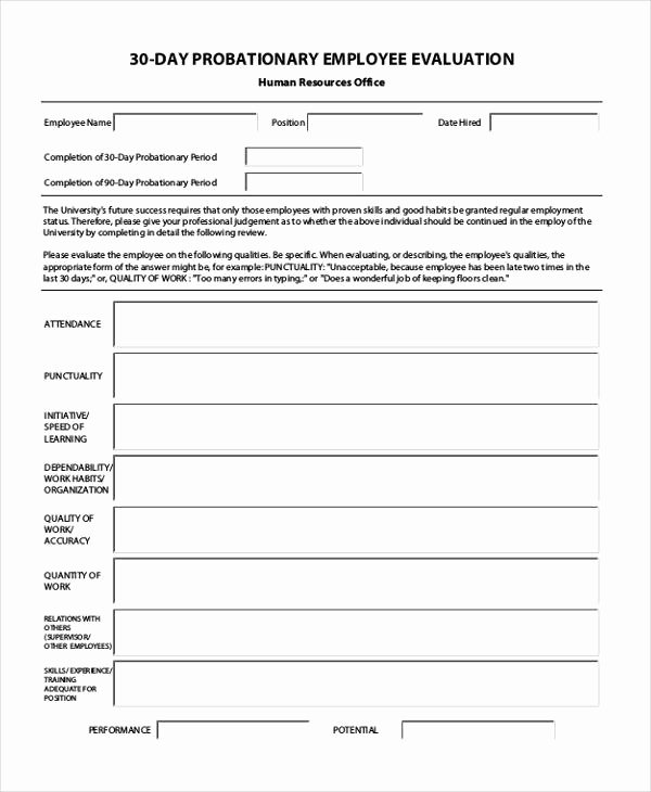 Free Employee Evaluation forms Printable Fresh Free 35 Printable Employee Evaluation forms In Pdf