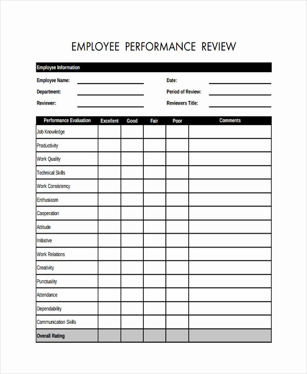 Free Employee Evaluation forms Printable Inspirational Free 19 Sample Employee Review forms