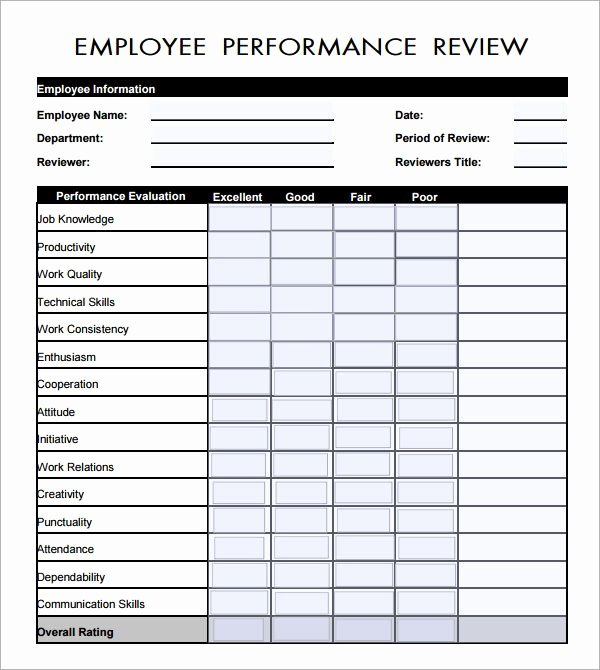 Free Employee Evaluation forms Printable Luxury Employee Evaluation form Pdf