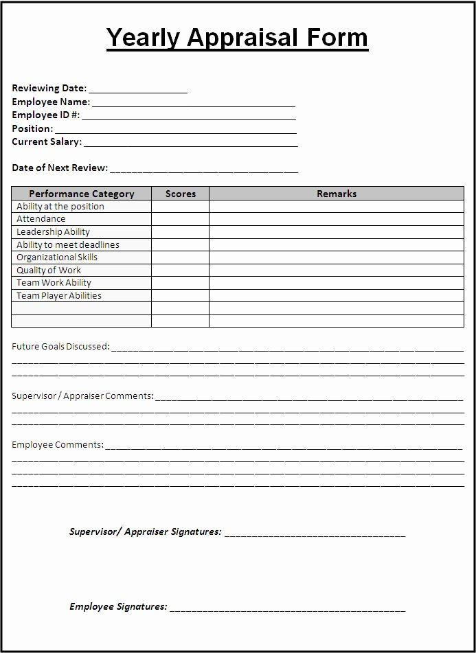 Free Employee Evaluation forms Printable Luxury Sample Yearly Appraisal form