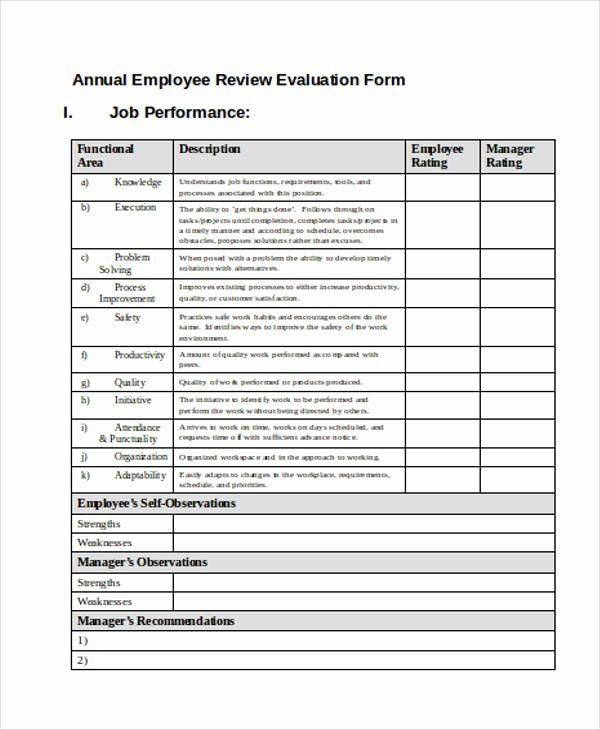 Free Employee Evaluation forms Printable New Free 35 Printable Employee Evaluation forms In Pdf