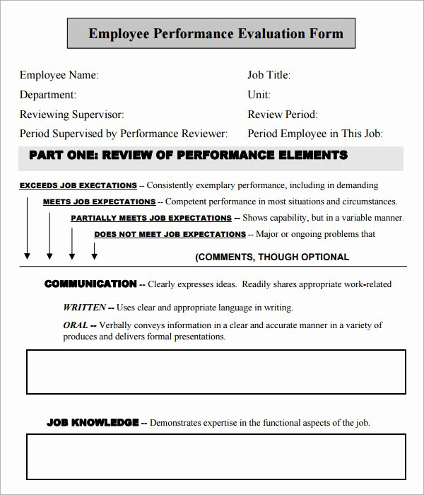 Free Employee Evaluation forms Printable Unique Free Employee Evaluation forms Printable