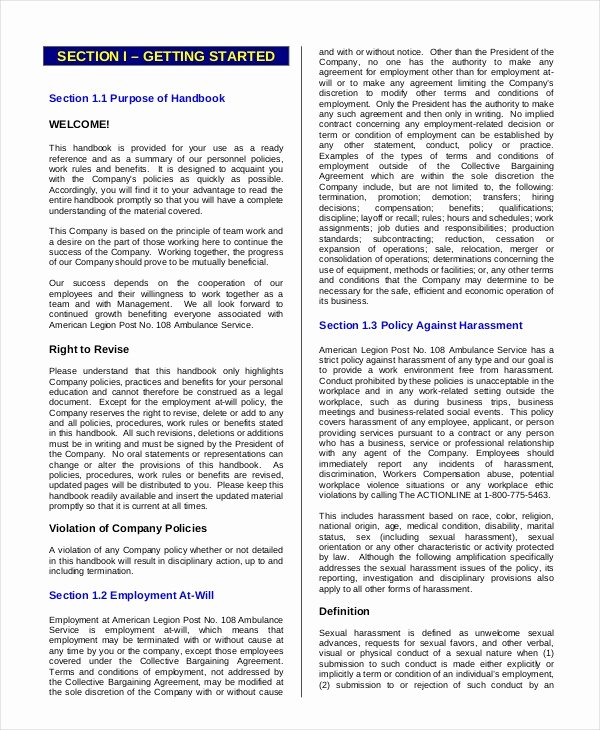 employee handbook template 12 free sample example format with regard to employee handbook template
