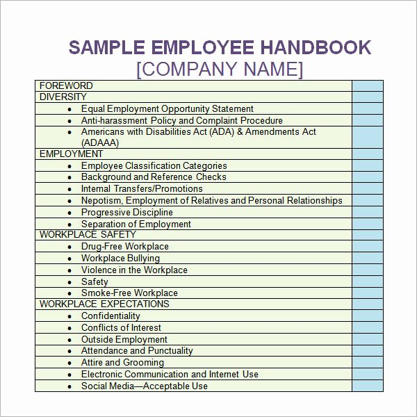 Free Employee Handbook Template Luxury Employee Handbook Template Free Download Templates