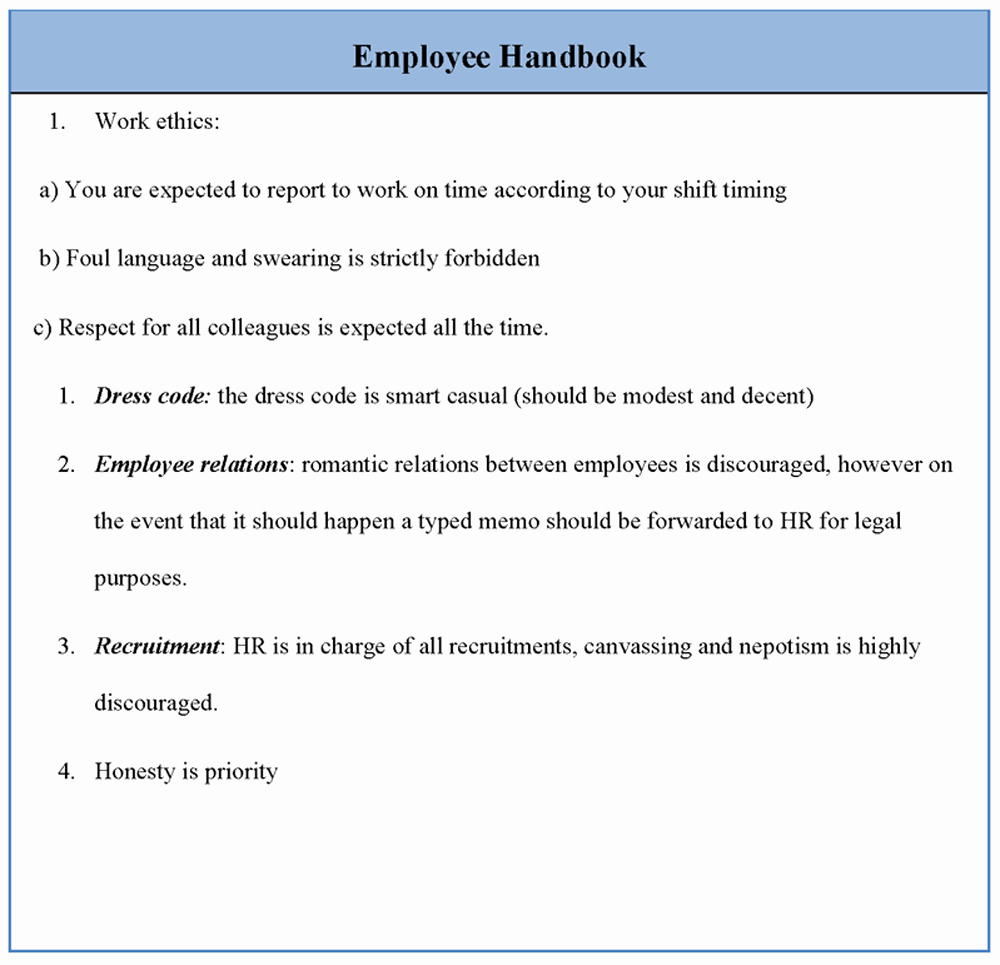 Free Employee Handbook Template New Free Templates