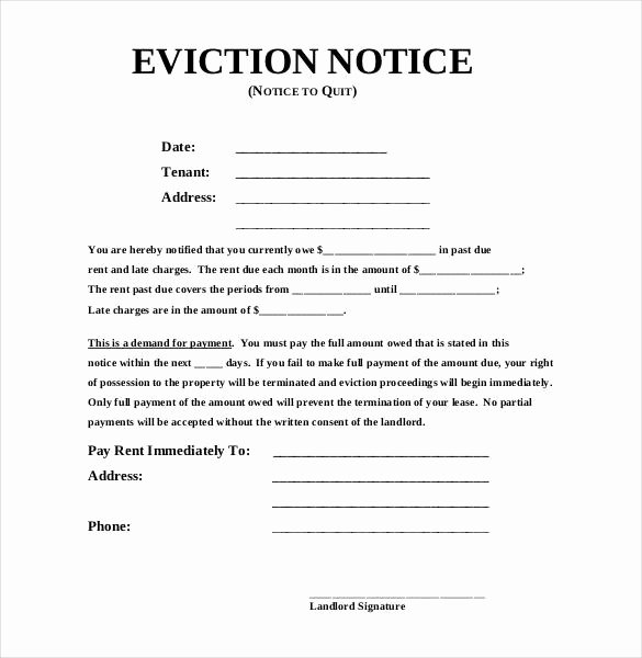 Free Eviction Notice Template Awesome Eviction Notice Template