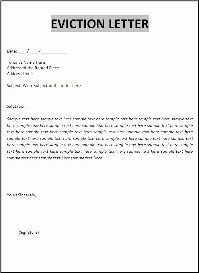 Free Eviction Notice Template Elegant Eviction Letter Template