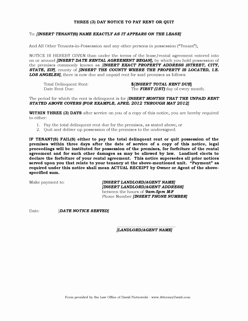 Free Eviction Notice Template New 3 Day Eviction Notice for Non Payment Of Rent In