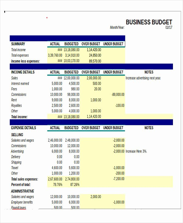 Free Excel Budget Template Fresh 12 Business Bud Templates In Excel Word Pdf