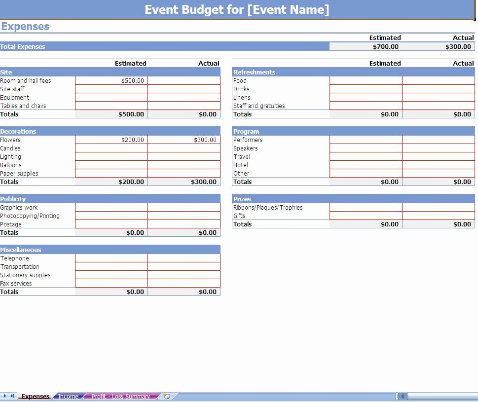 Free Excel Budget Template New event Bud Ing Excel Template Screenshot