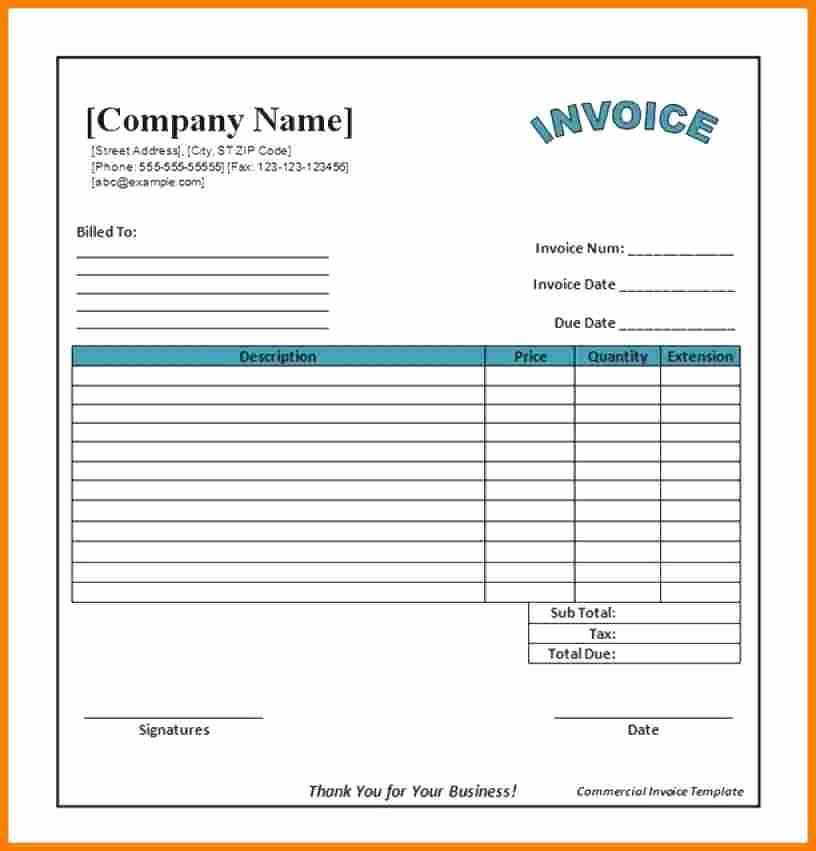 Free Excel Invoice Template Awesome 15 Restaurant Bills format In Word