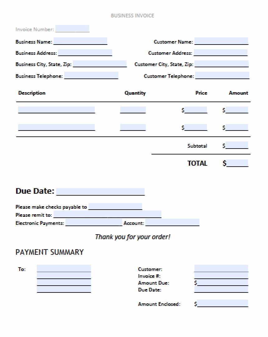 Free Excel Invoice Template Awesome Sample Business Invoice Template – Free Blank Invoice