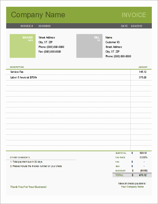 Free Excel Invoice Template Awesome Simple Invoice Template for Excel Free