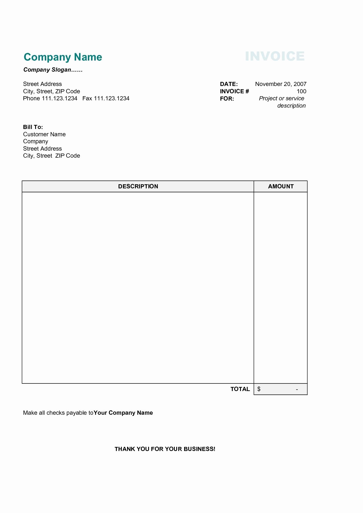Free Excel Invoice Template Best Of 17 Best Photos Of Printable Mercial Invoice Sample