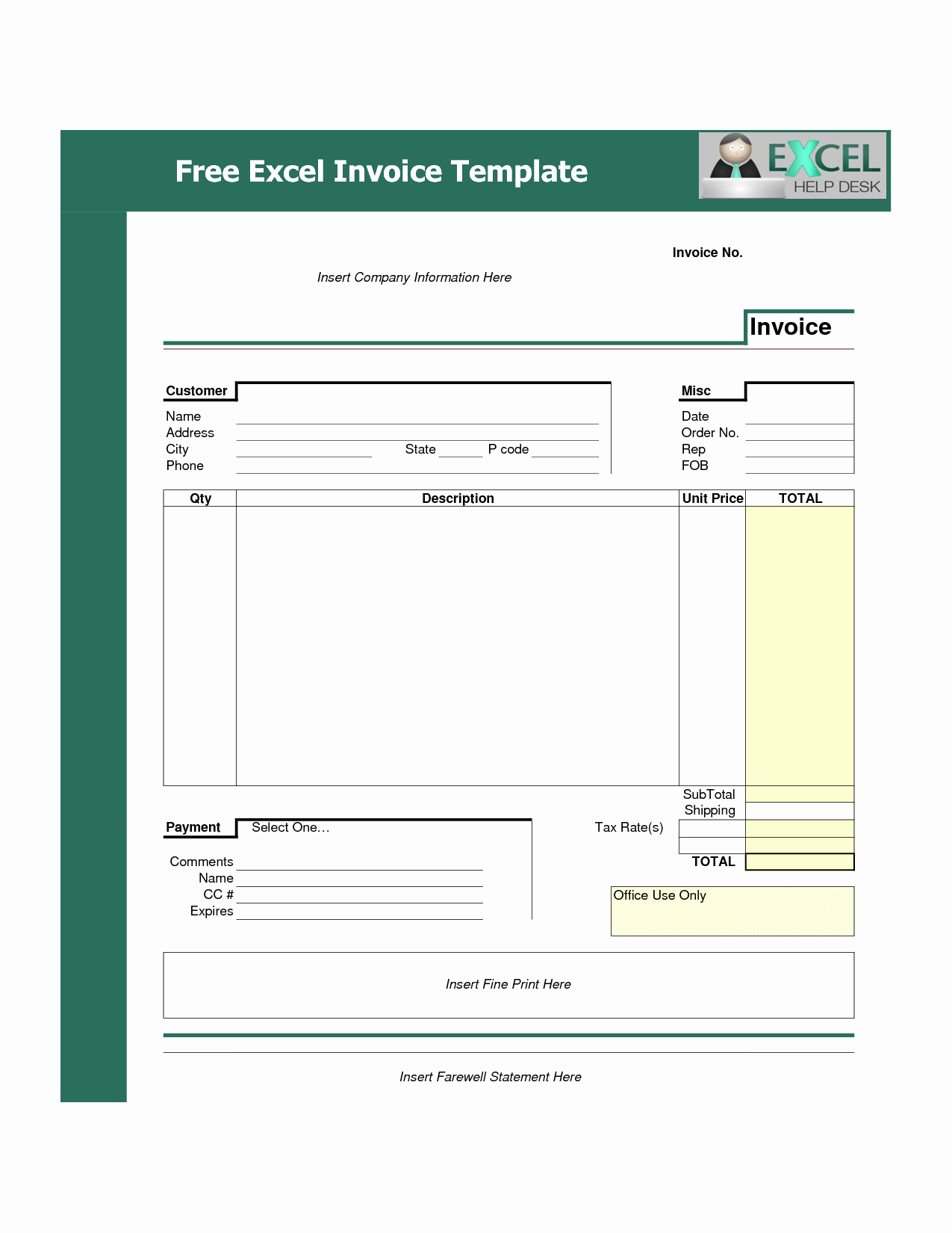 Free Excel Invoice Template Best Of Brilliant Examples Invoice Templates for Service and