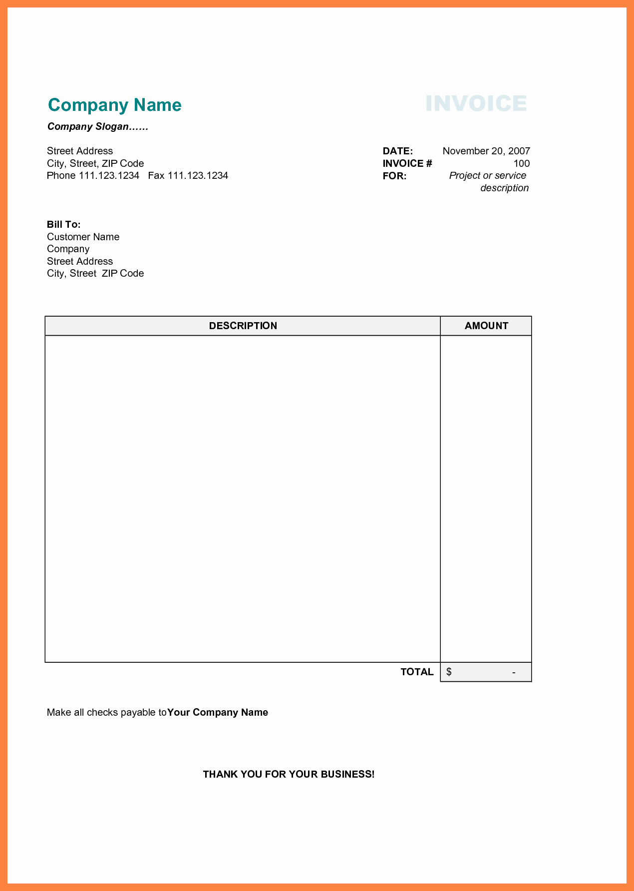 Free Excel Invoice Template Inspirational Free Printable Business Invoice Template Invoice format
