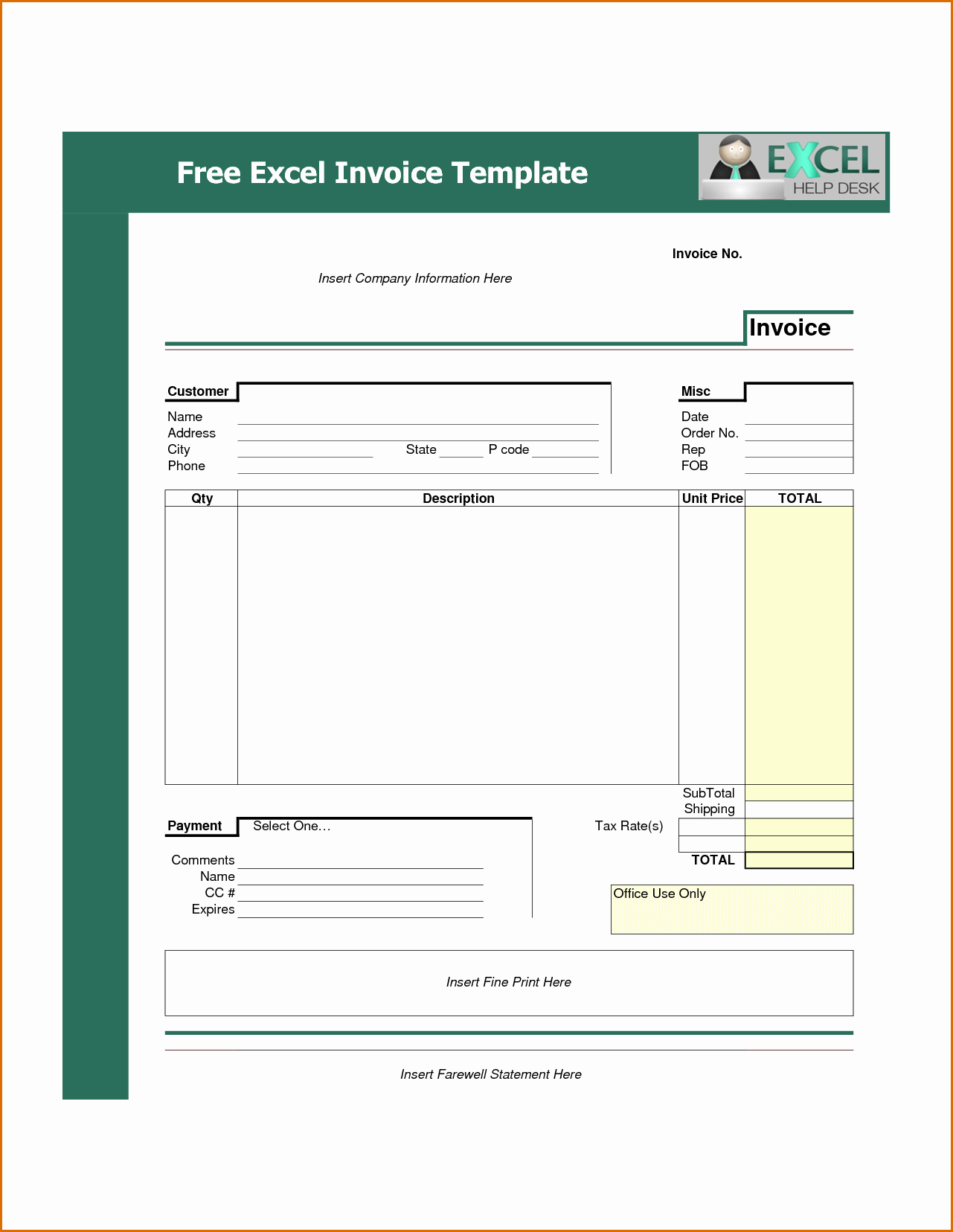 Free Excel Invoice Template Lovely 11 Able Invoice Template