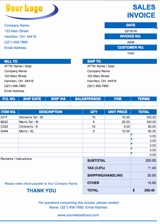 Free Excel Invoice Template Unique Sales Invoice Template Excel Free Download