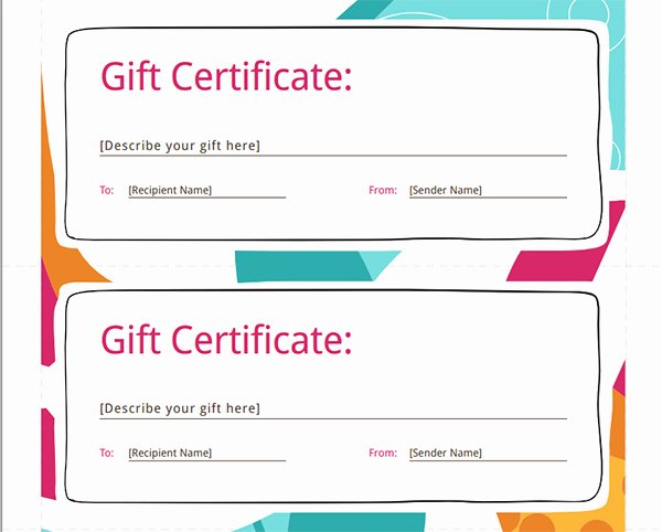 Free Gift Certificate Template Word Luxury Printable Gift Certificate Templates