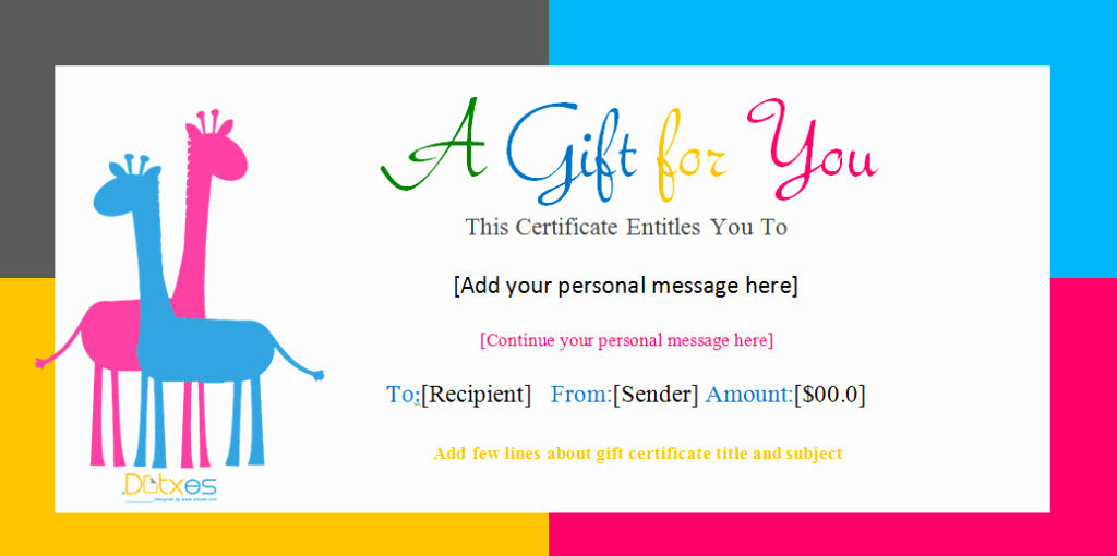 Free Gift Certificate Template Word New Gift Certificate Template