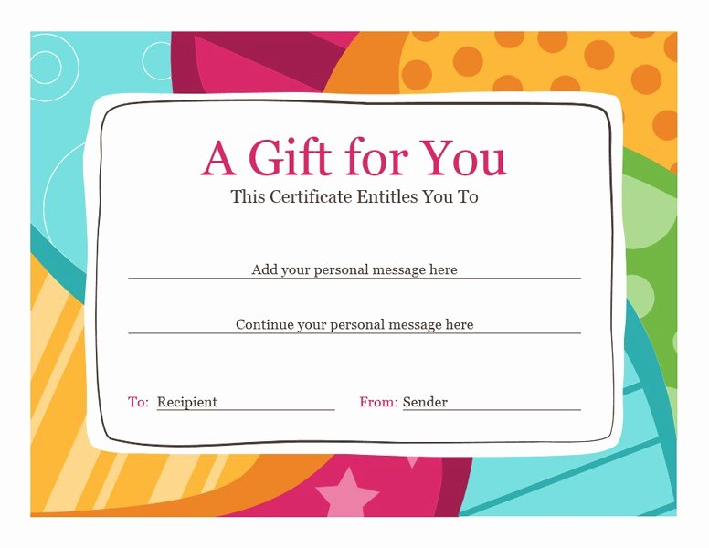 Free Gift Certificate Template Word Unique Birthday T Certificate Bright Design