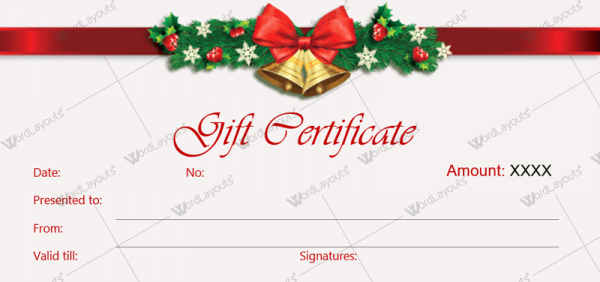 Free Gift Certificate Template Word Unique Christmas Gift Certificate Template 36 Word Layouts