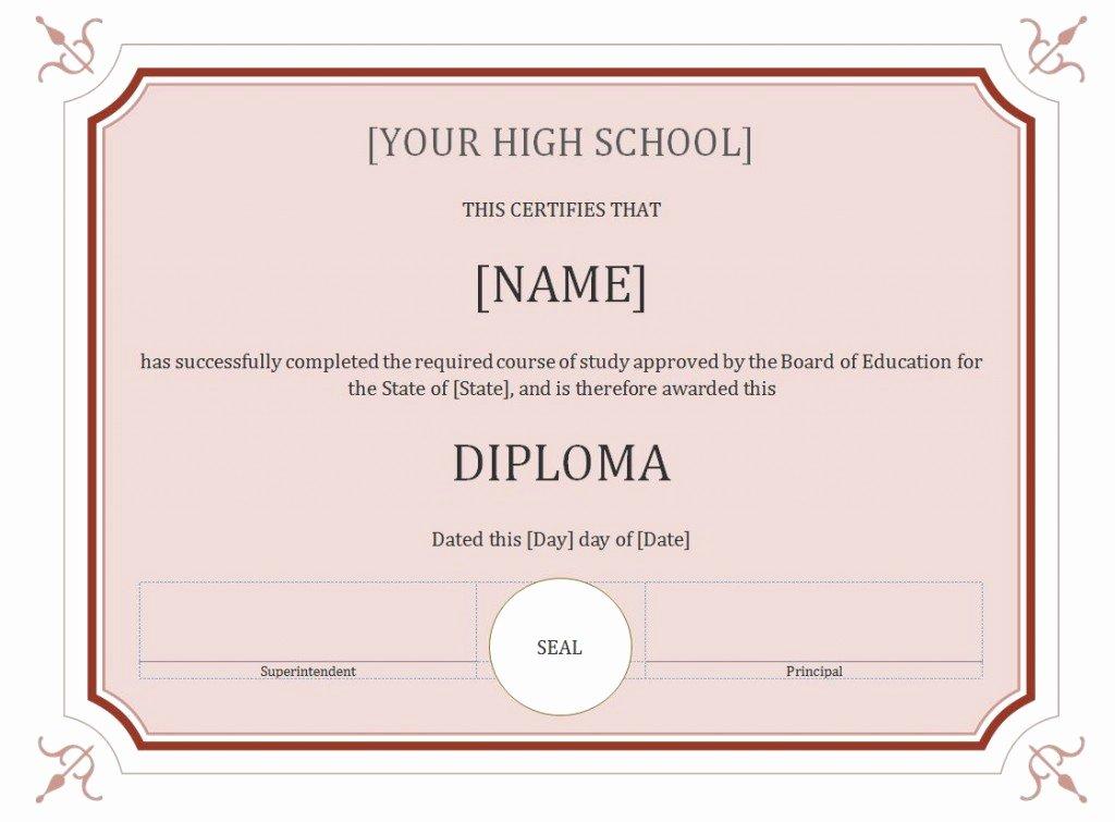 Free High School Diploma Templates Beautiful 60 Free High School Diploma Template Printable