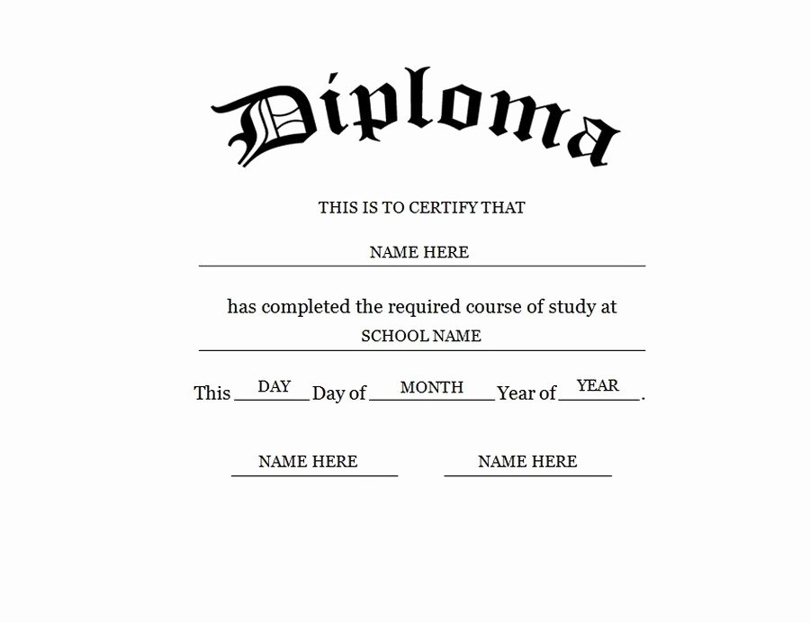 Free High School Diploma Templates Best Of Blank High School Diploma Template Free Printables