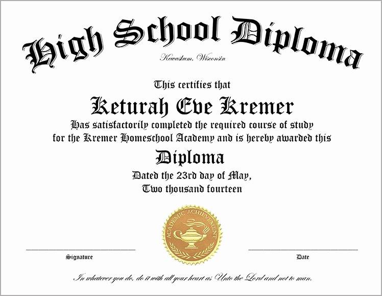 Free High School Diploma Templates Fresh 30 Free High School Diploma Template Printable
