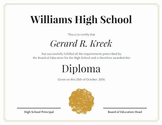 Free High School Diploma Templates Inspirational 35 High School Diploma Template Download Free