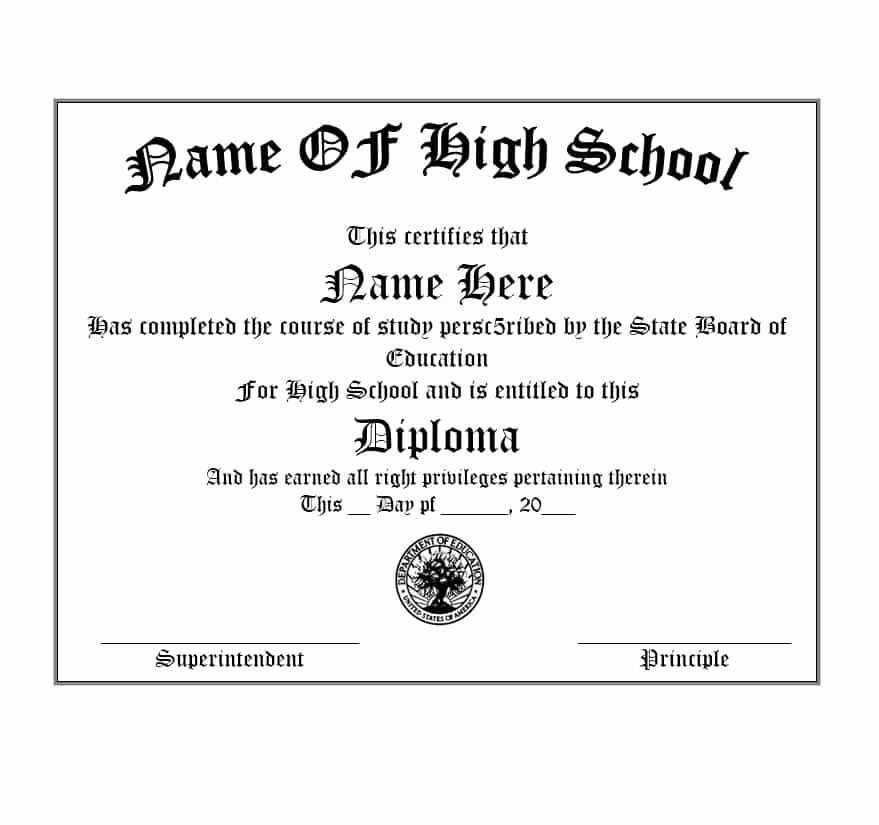 Free High School Diploma Templates New 30 Real & Fake Diploma Templates High School College
