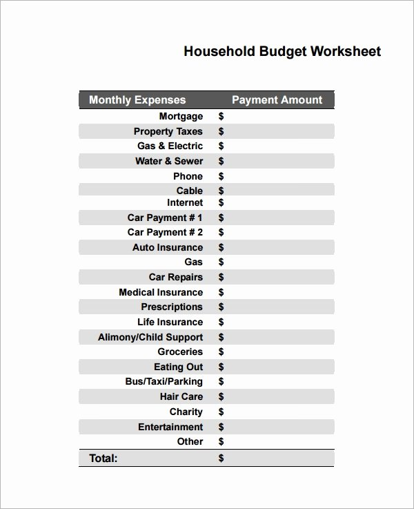 Free Household Budget Worksheet Pdf Best Of Free 10 Household Bud Samples In Google Docs